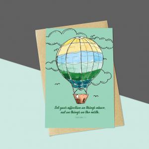 Green Balloon Bible Verse Card