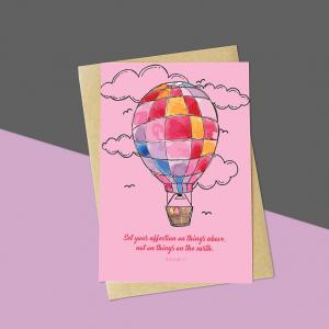 Pink Balloon Bible Verse Card